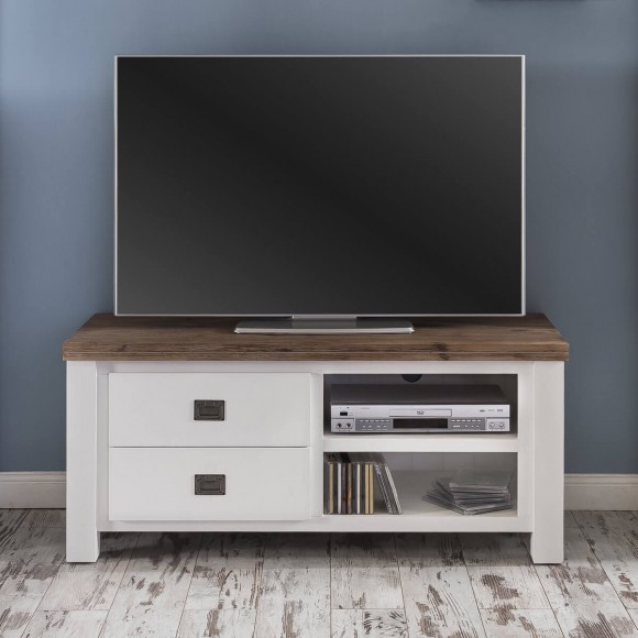 tv lowboard in wei braun 120 cm aus akazie massivholz tv bank im landhausstil ebay. Black Bedroom Furniture Sets. Home Design Ideas