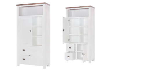 Highboard Lyron in Akazie massiv Weiß / Braun 100 cm – Bild 7