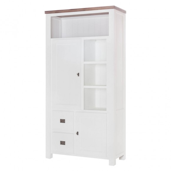Highboard Lyron in Akazie massiv Weiß / Braun 100 cm – Bild 1