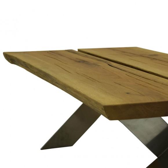 Couchtisch viano 110x60 in eiche massivholz metall for Couchtisch eiche edelstahl
