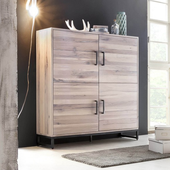 Highboard Solidon in Wildeiche White Wash / Metall – Bild 2