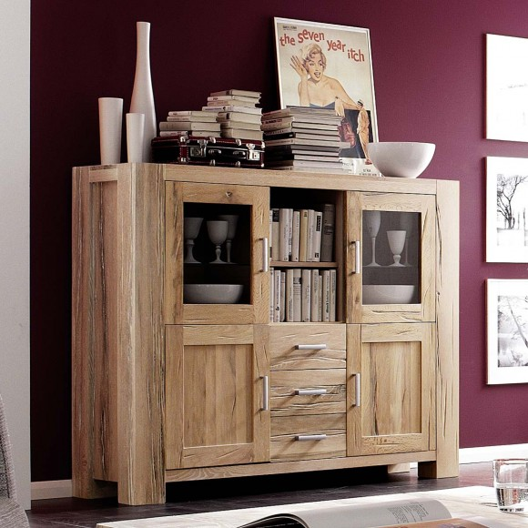 Highboard Braxton in Eiche massiv natur geölt – Bild 2