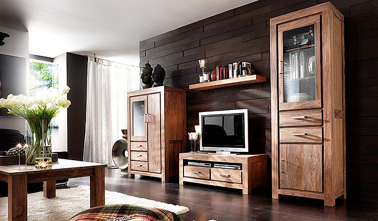wohnwand holz. Black Bedroom Furniture Sets. Home Design Ideas