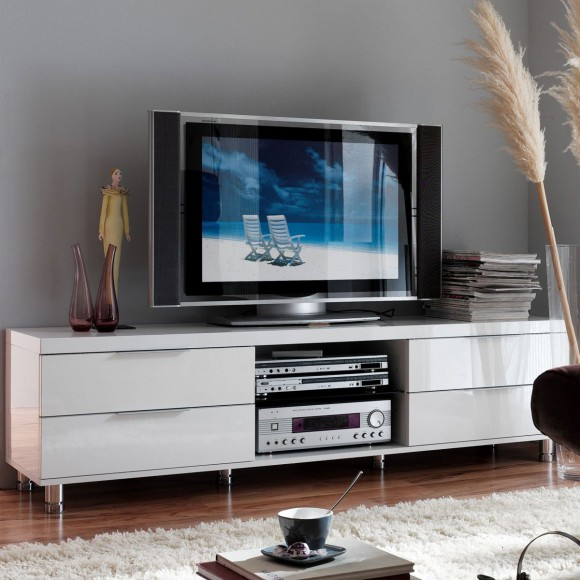 tv lowboard albora in wei hochglanz. Black Bedroom Furniture Sets. Home Design Ideas