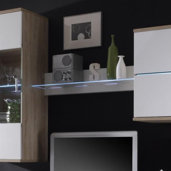 wohnwand anbauwand schrankwand wei sonoma eiche mit beleuchtung blau neu ebay. Black Bedroom Furniture Sets. Home Design Ideas
