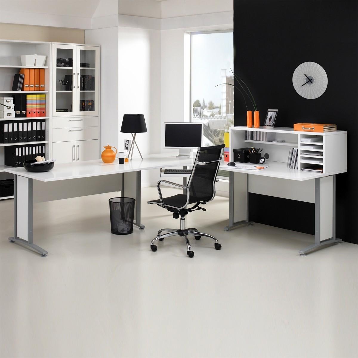 schreibtisch prima mit aufsatz in weiss b2b trade. Black Bedroom Furniture Sets. Home Design Ideas
