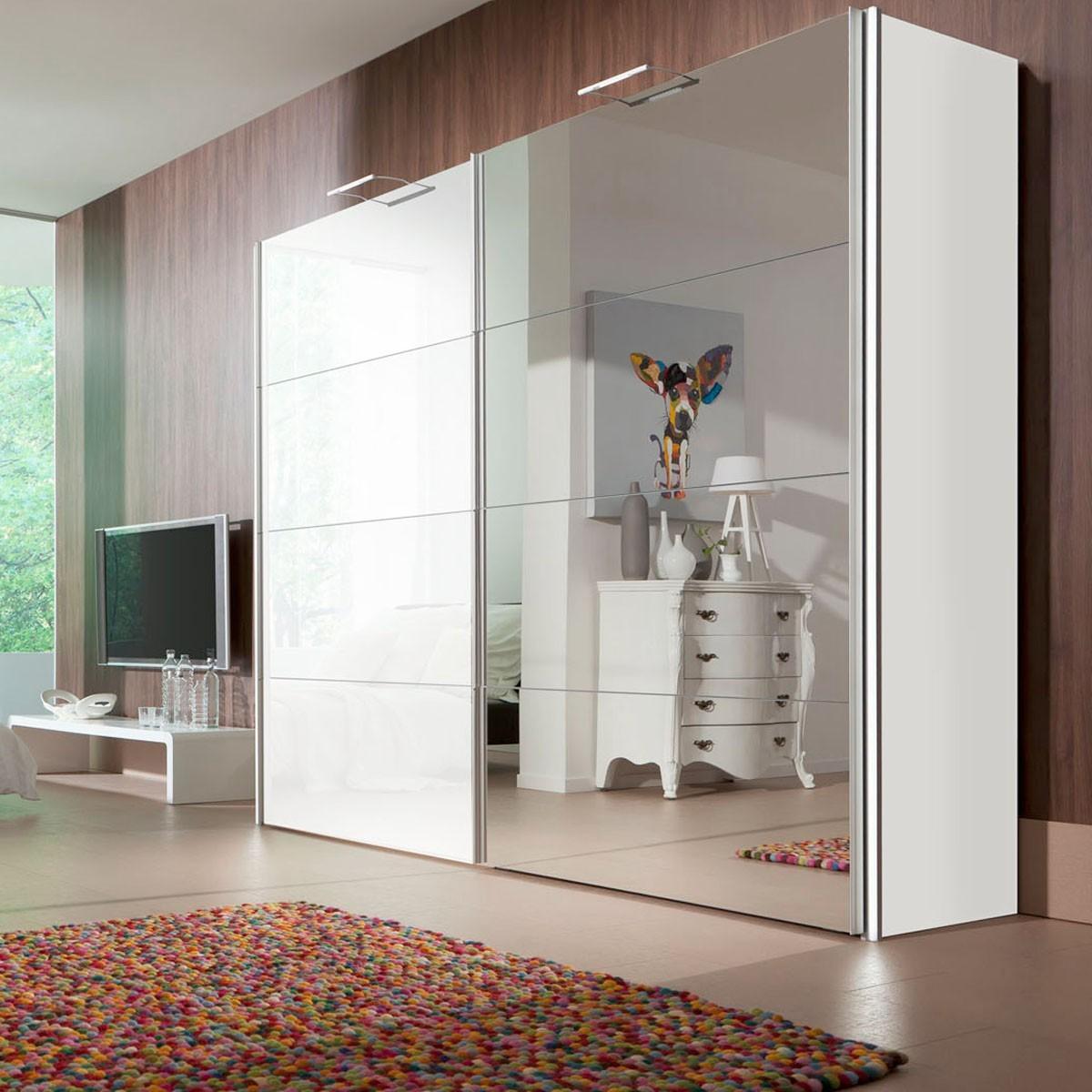 schwebet renschrank wei mit spiegel. Black Bedroom Furniture Sets. Home Design Ideas