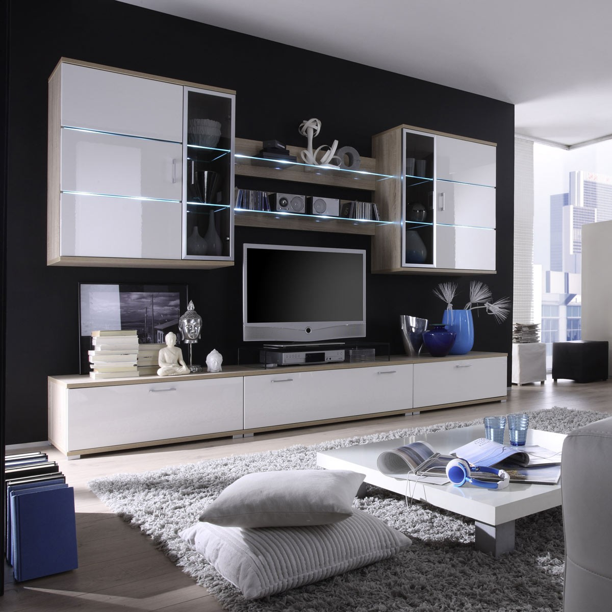 wohnwand cooper in wei hochglanz eiche. Black Bedroom Furniture Sets. Home Design Ideas