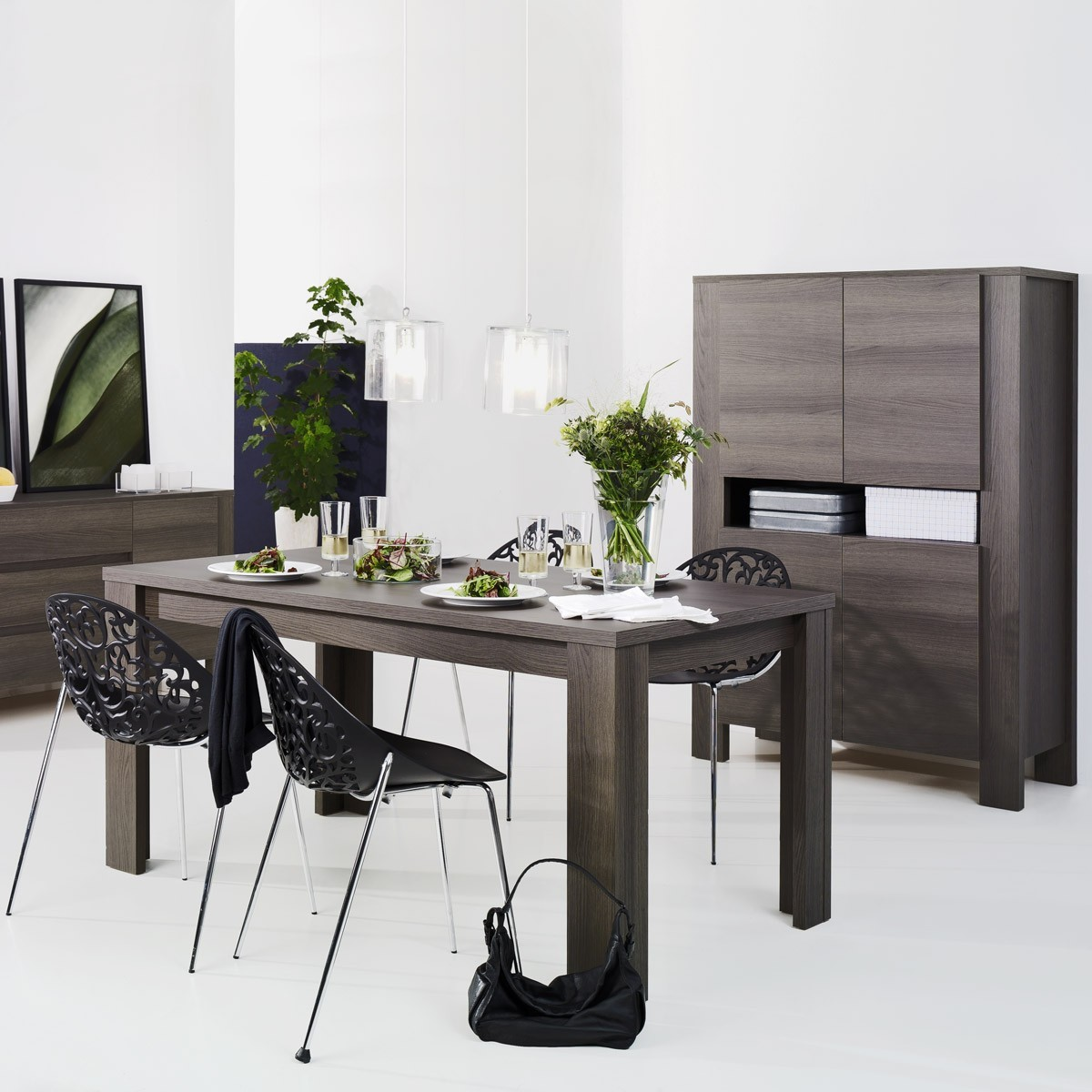esstisch danoro 190 x 90 cm in eiche anthrazit. Black Bedroom Furniture Sets. Home Design Ideas
