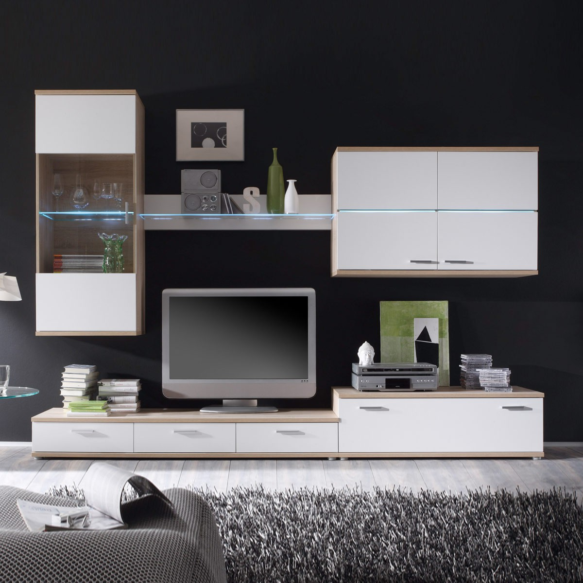 wohnwand adelle in wei sonoma eiche mit led beleuchtung. Black Bedroom Furniture Sets. Home Design Ideas