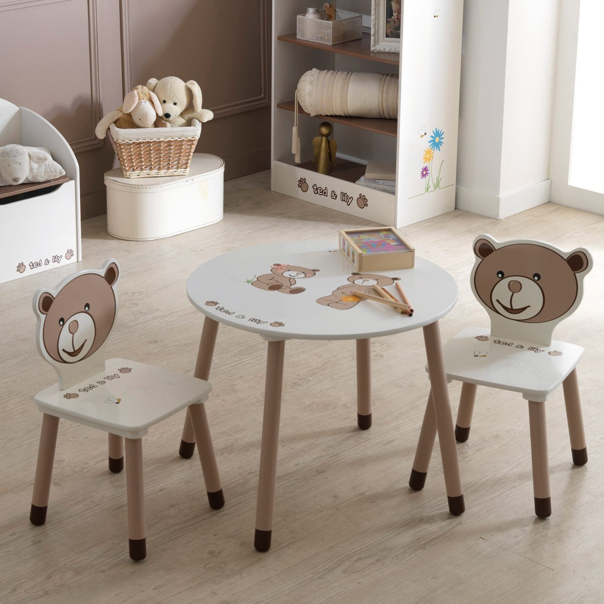 Kindertisch ted und lily 60cm mit motivdruck for Runde kindertische