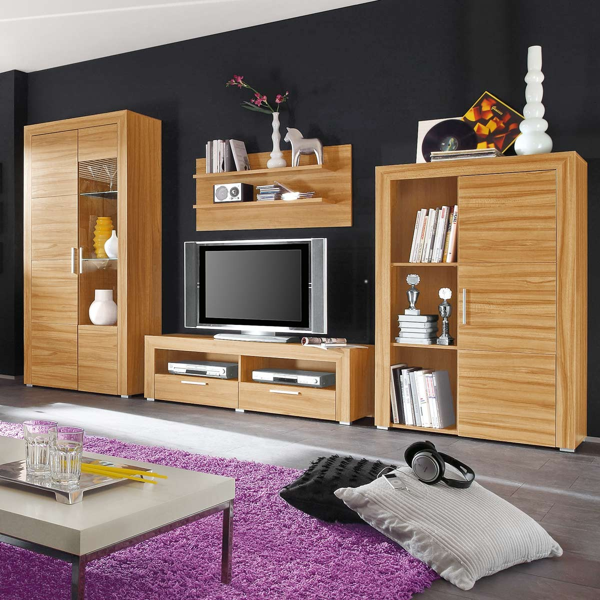 anbauwand salu in kernbuche laminat mit beleuchtung. Black Bedroom Furniture Sets. Home Design Ideas