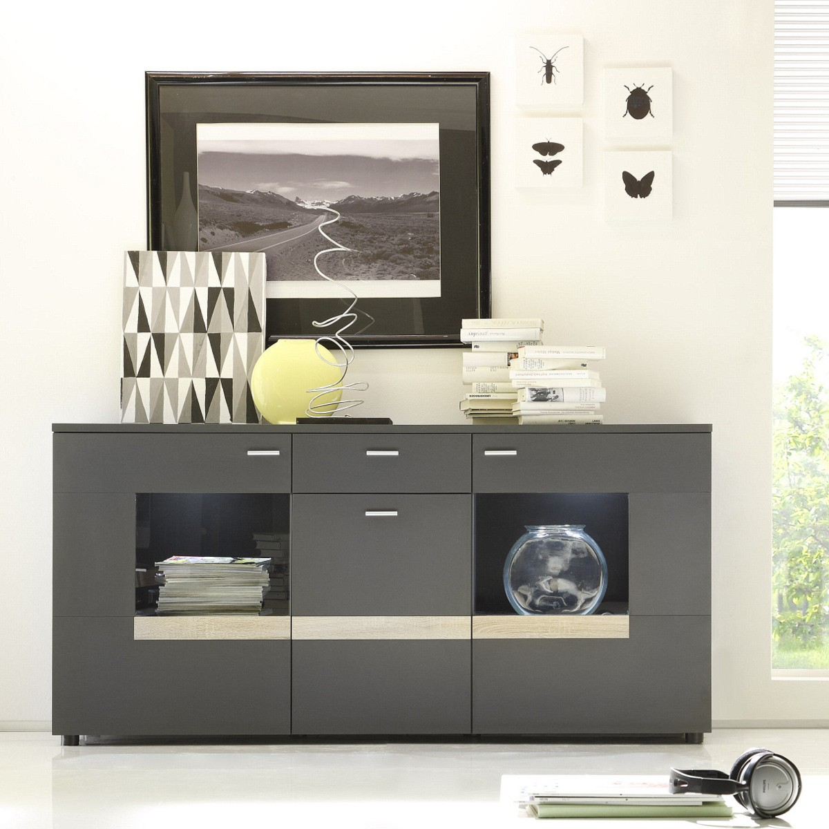 sideboard gogo in schwarzbraun sonoma eiche. Black Bedroom Furniture Sets. Home Design Ideas
