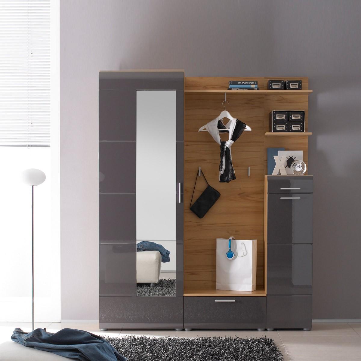 Garderobe vogar in goldkernbuche anthrazit for Sitzbank garderobe holz