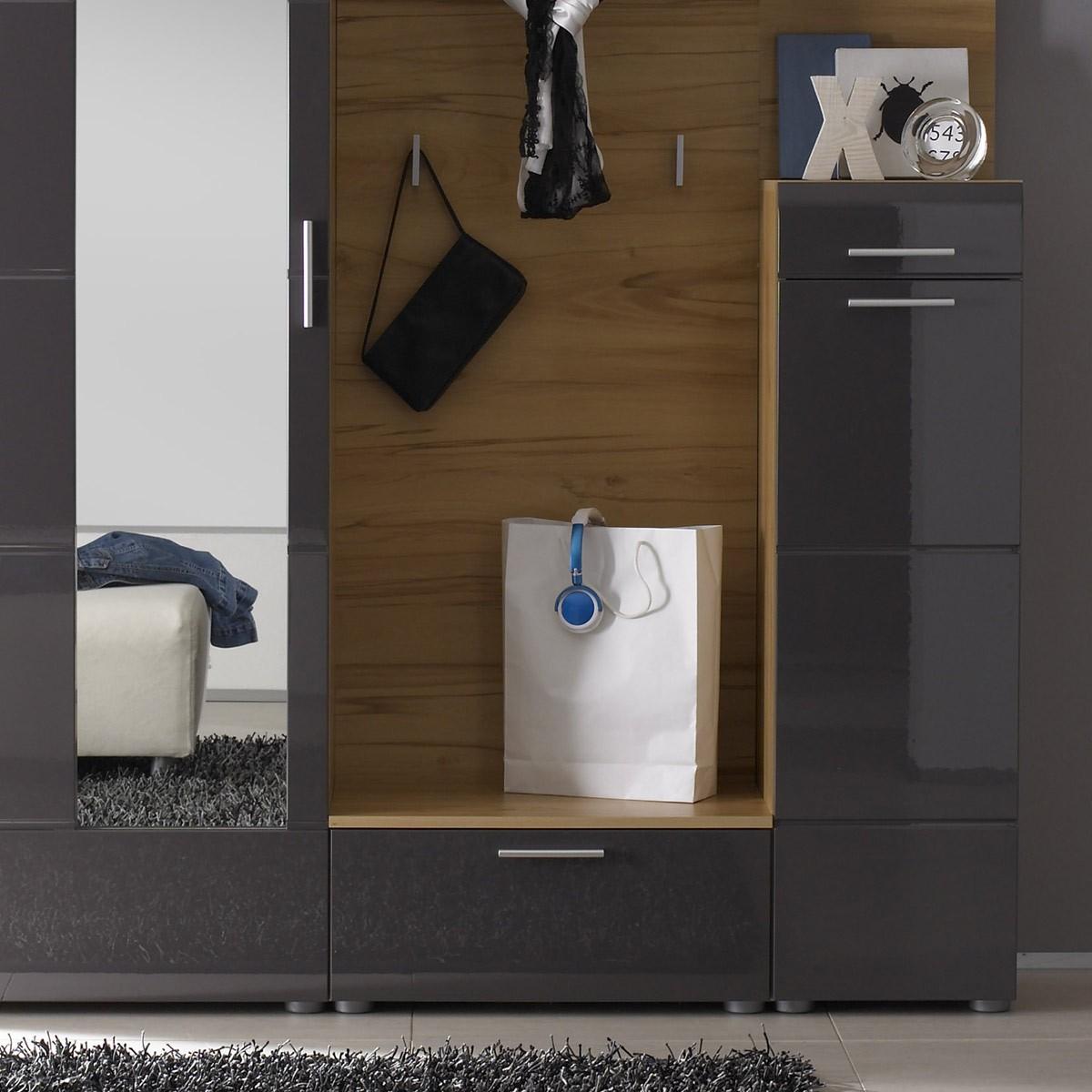 Garderobe vogar in goldkernbuche anthrazit for 3 teilige garderobe