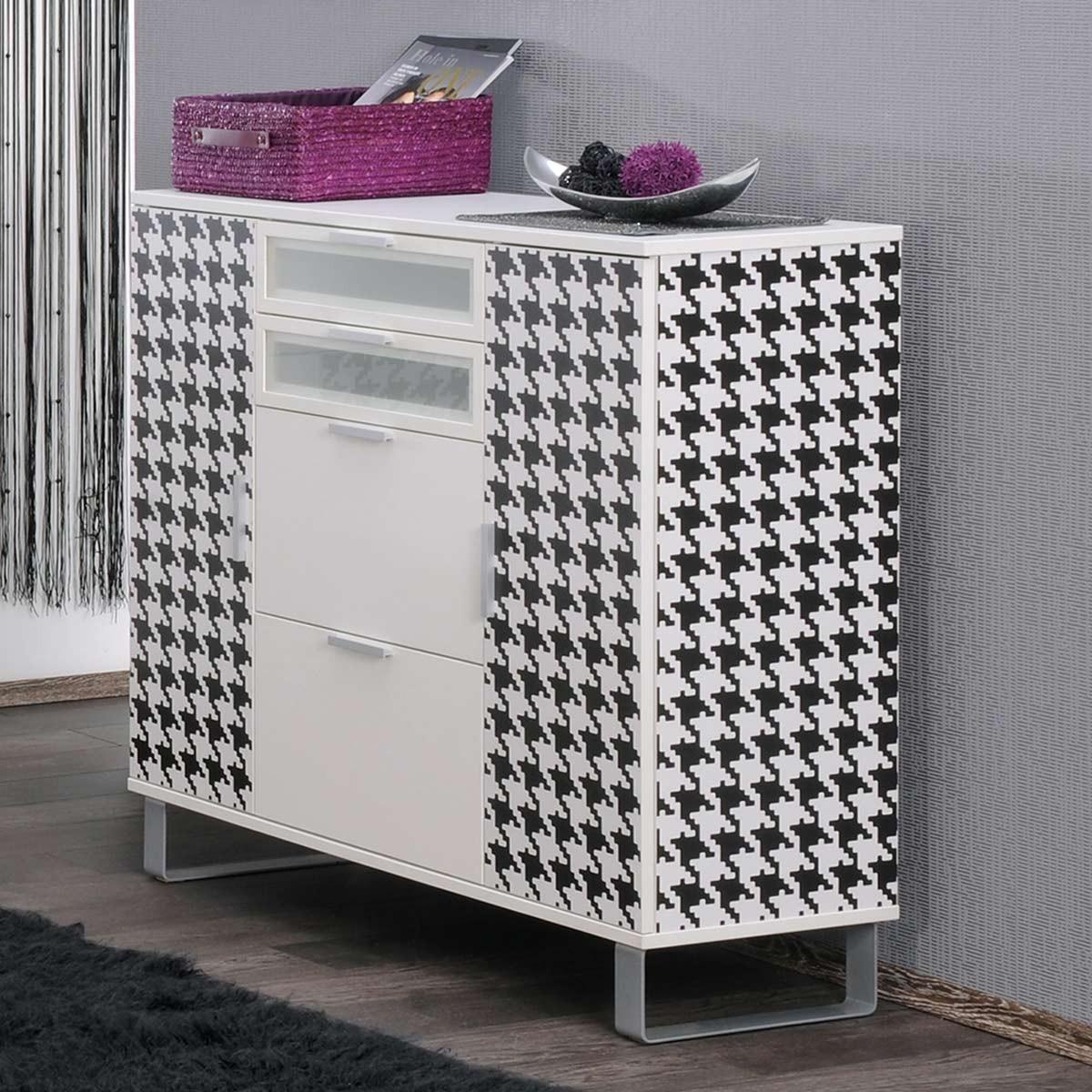 highboard sjard mit schubladen in wei hahnentritt. Black Bedroom Furniture Sets. Home Design Ideas