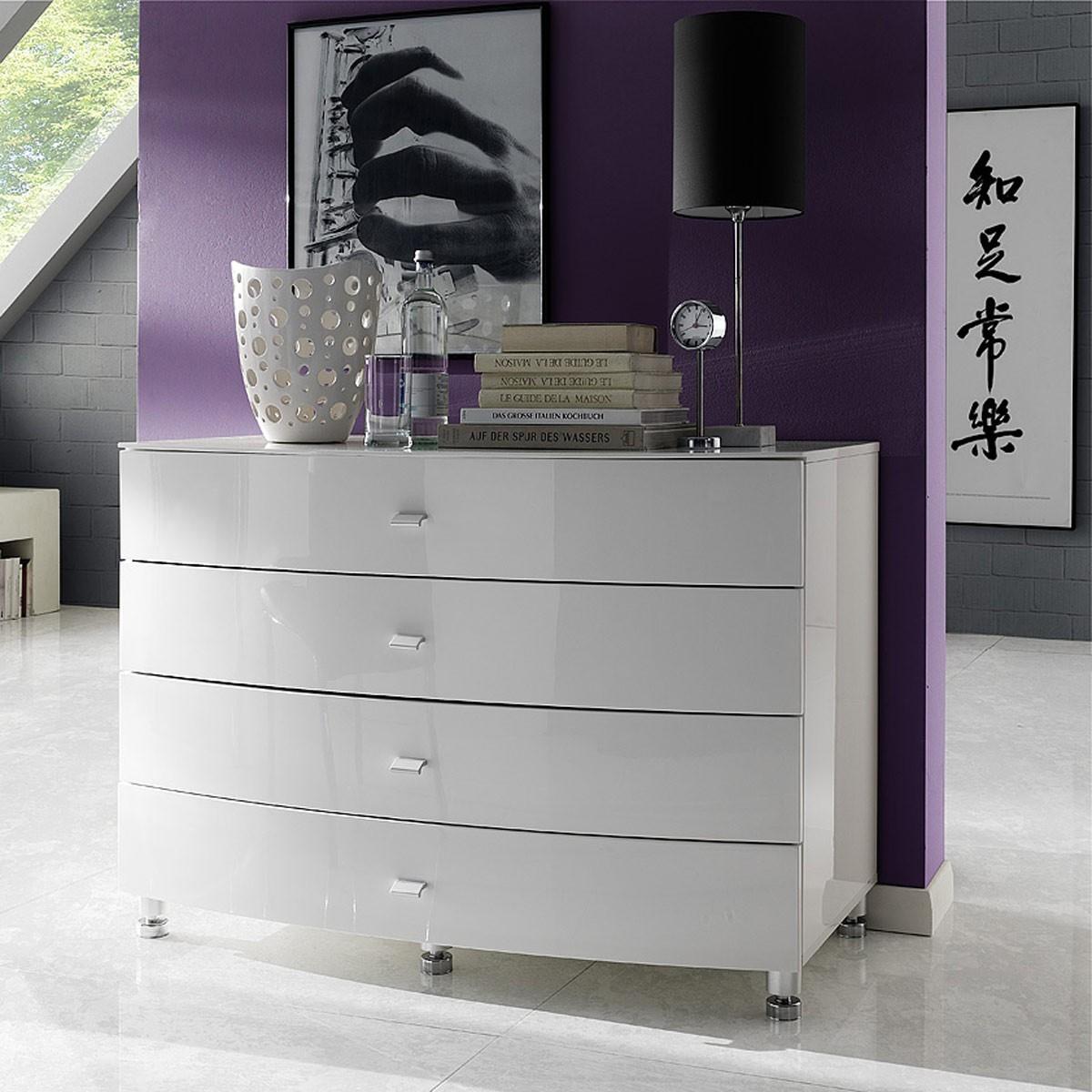 kommode lucio mit 2 tueren in hochglanz weiss. Black Bedroom Furniture Sets. Home Design Ideas