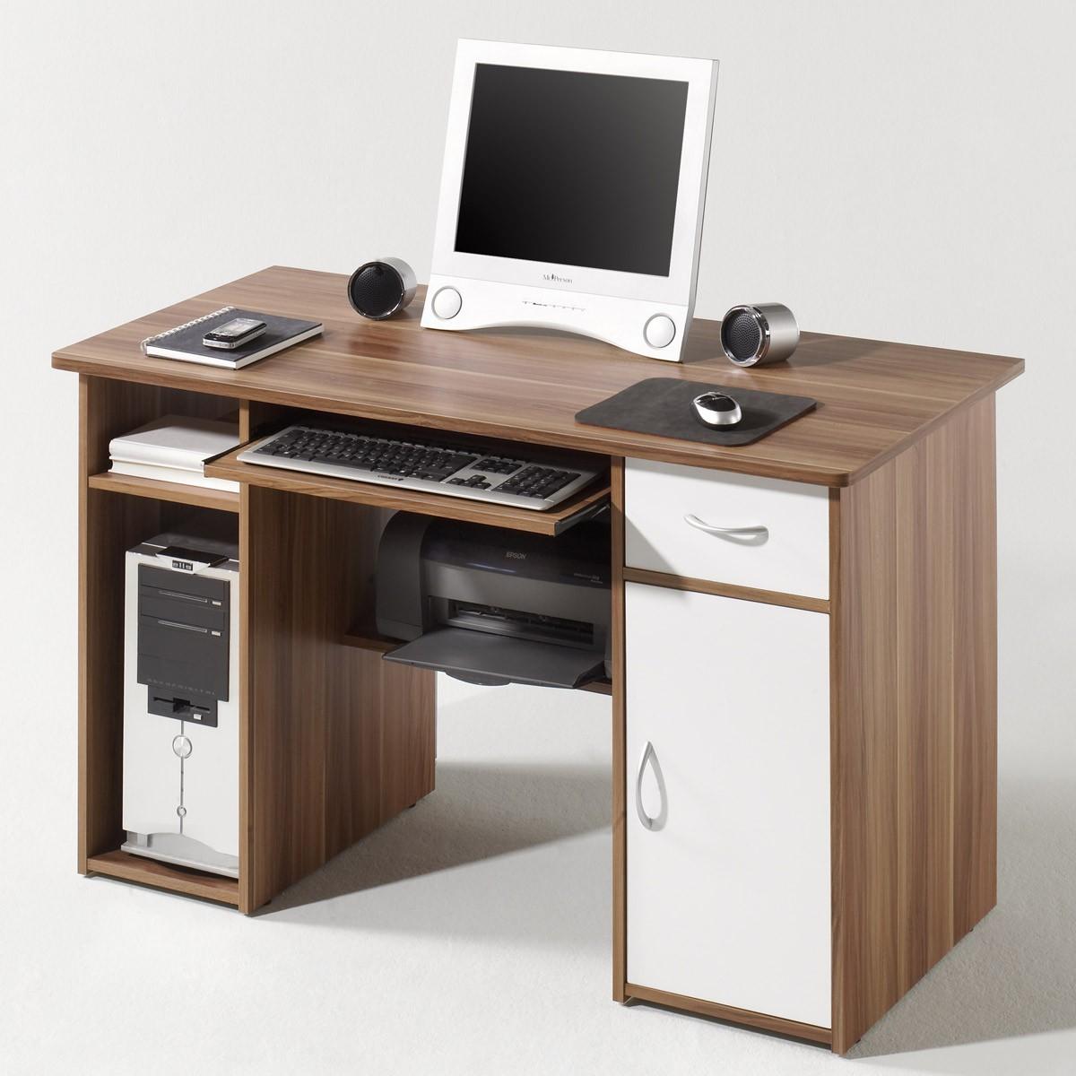 pc tisch coronel in walnuss front weiss b2b trade. Black Bedroom Furniture Sets. Home Design Ideas