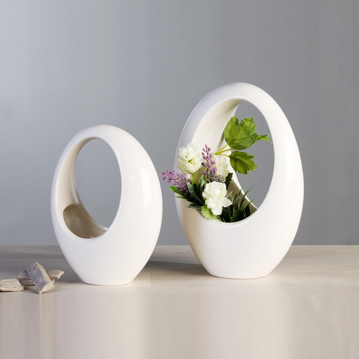 Vase kilmacolm wei glasiert - Ovale wandregale ...