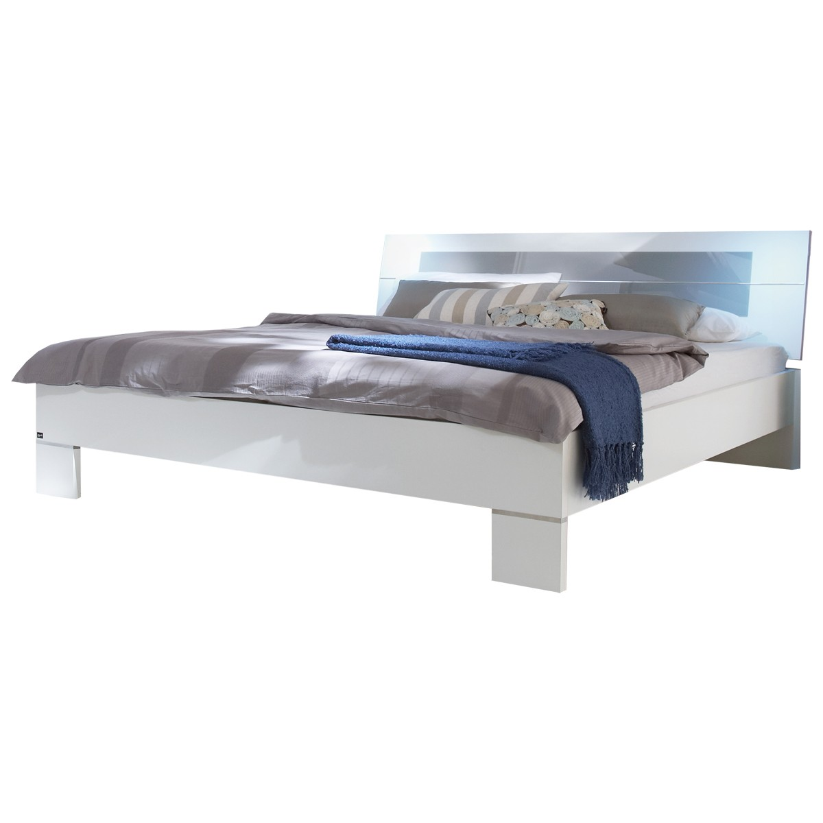 futonbett advantage 140 x 200 cm wei glas grau. Black Bedroom Furniture Sets. Home Design Ideas