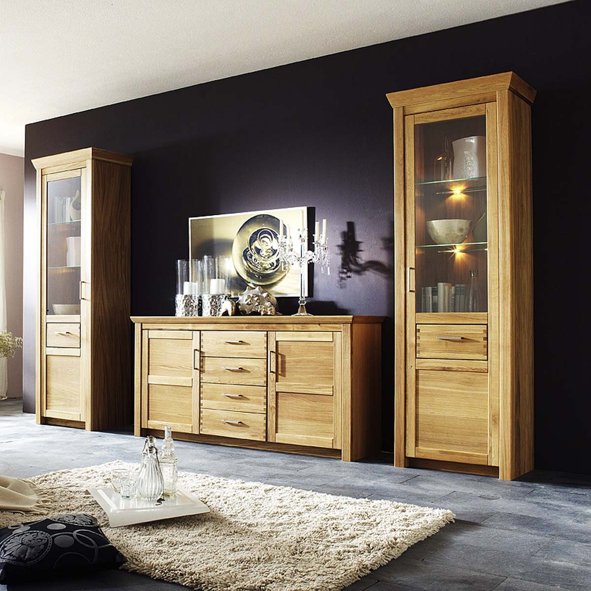 vitrine l rsund links in eiche teilmassiv ge lt mit beleuchtung. Black Bedroom Furniture Sets. Home Design Ideas
