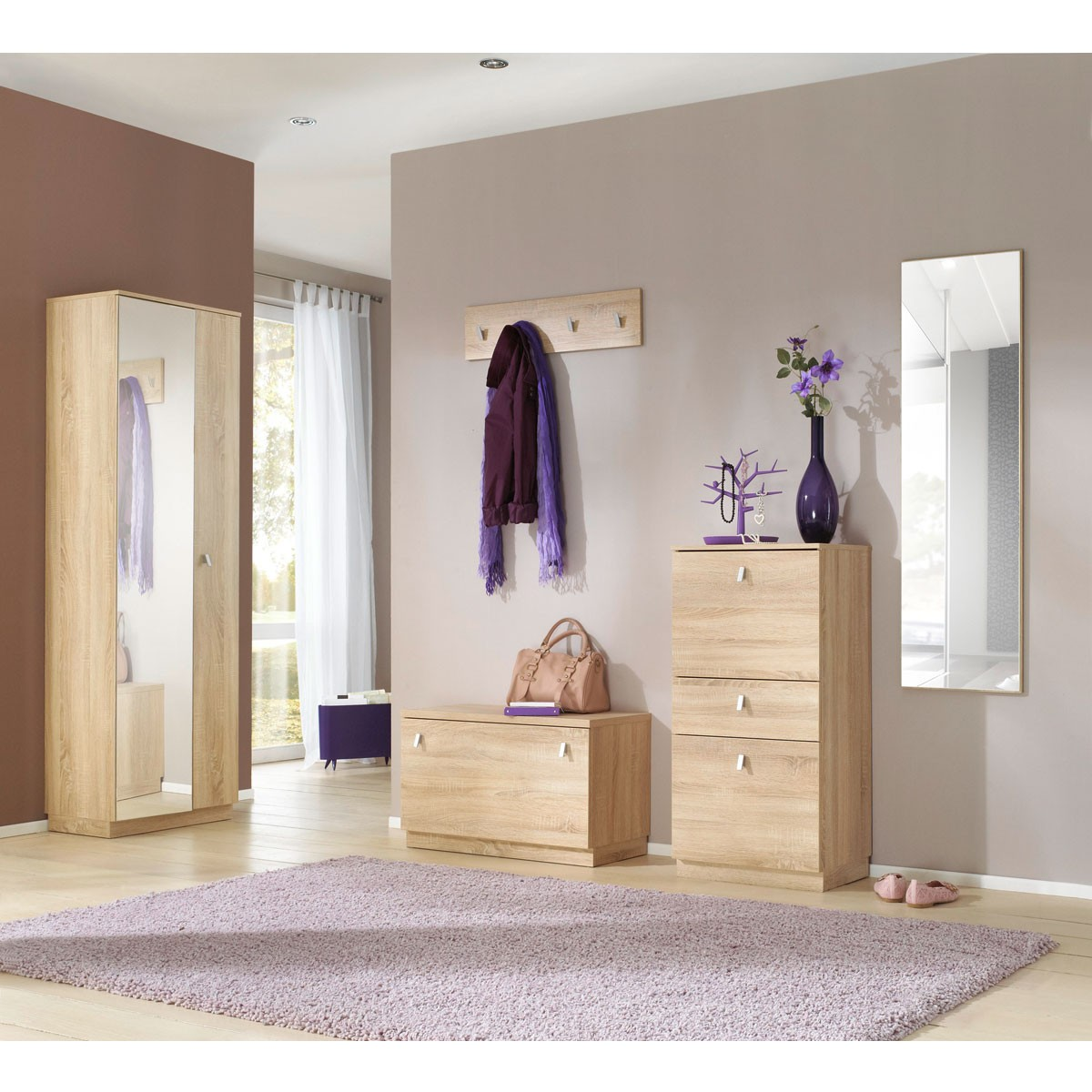 garderobe gornl nd 5 teilig in eiche s gerau. Black Bedroom Furniture Sets. Home Design Ideas