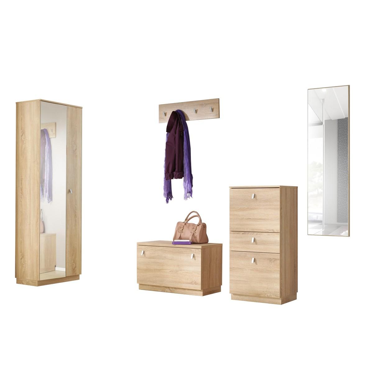 garderobe gornluend 5 teilig in eiche saegerau. Black Bedroom Furniture Sets. Home Design Ideas