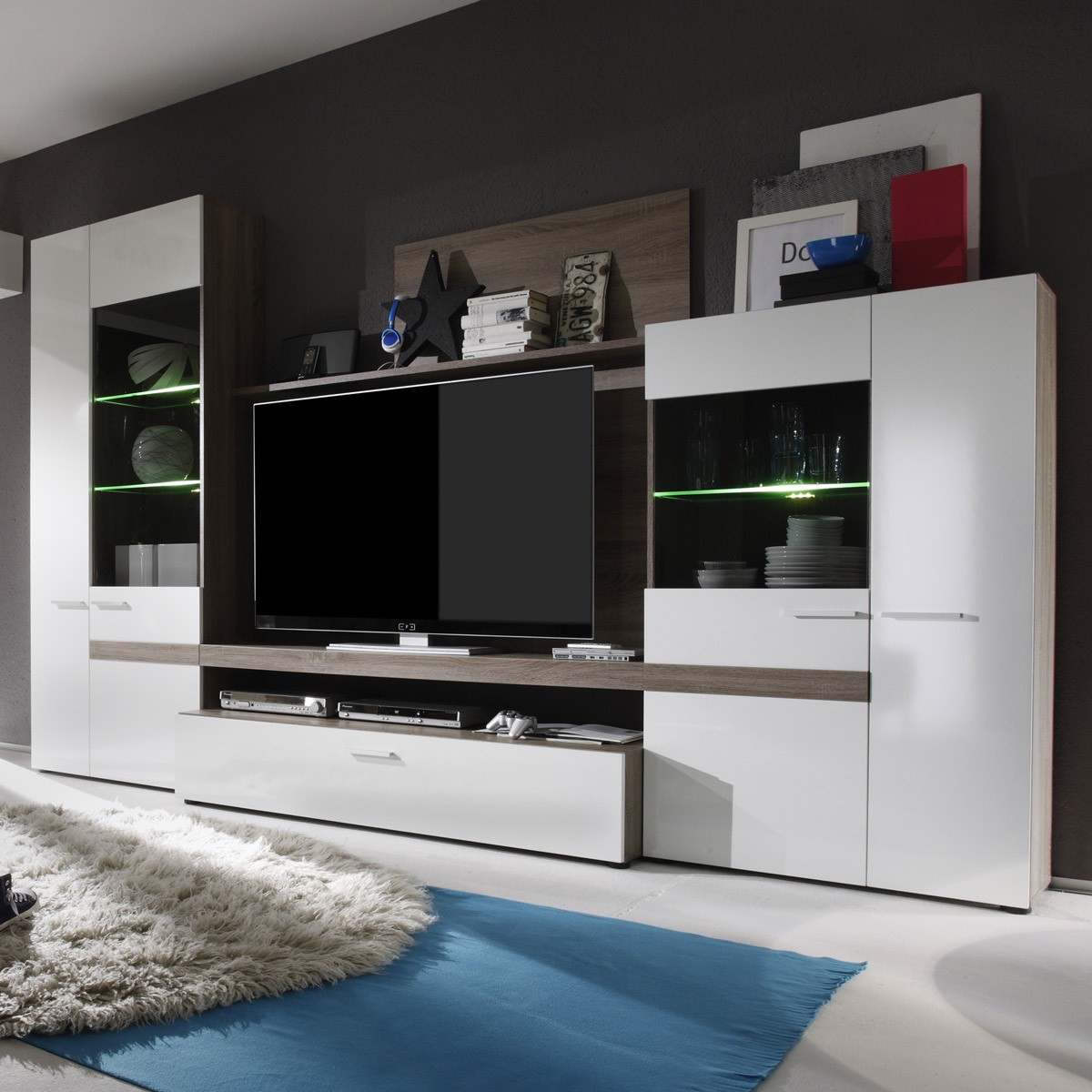 wohnwand laredo hochglanz wei eiche s gerau inkl. Black Bedroom Furniture Sets. Home Design Ideas