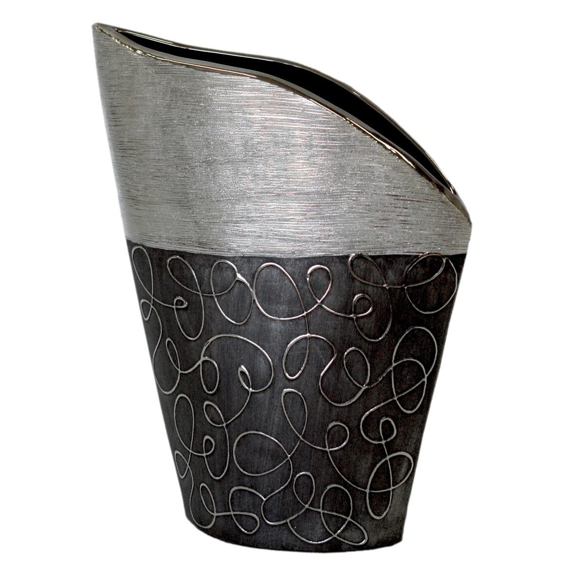 Gilde Vase Stella Hoehe 26cm Keramik Anthrazit Silber 24