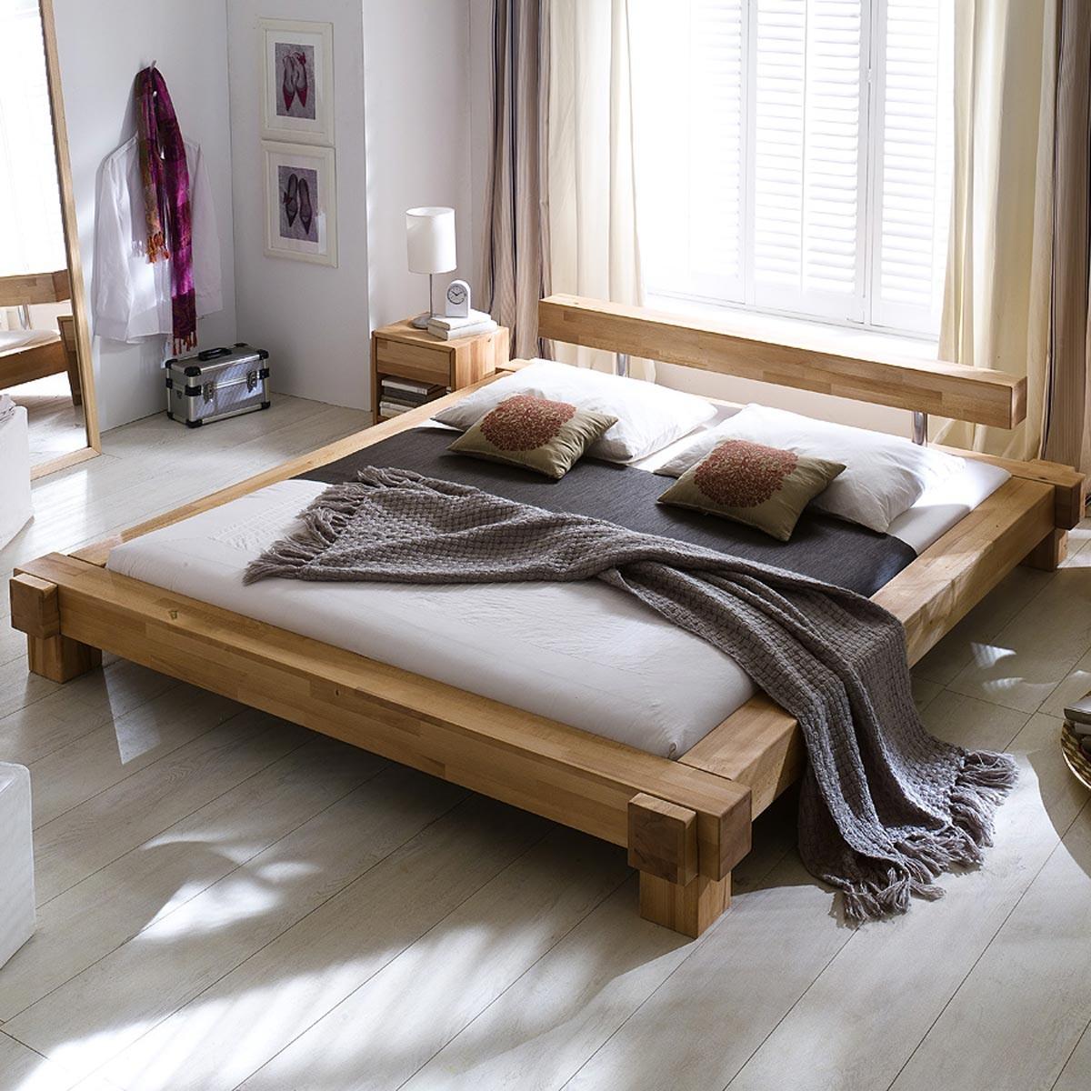 bett parana 140 x 200 cm in kernbuche massiv ge lt. Black Bedroom Furniture Sets. Home Design Ideas