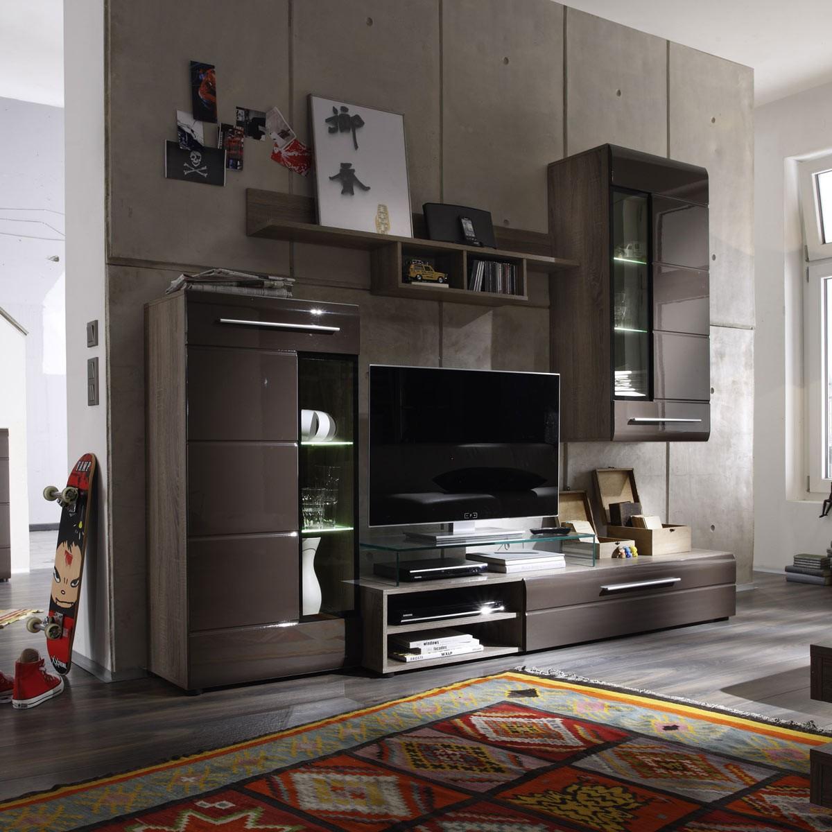 Yarial.com U003d Wohnwand Modern Braun ~ Interessante Ideen Für Die Gestaltung  Eines Raumes In