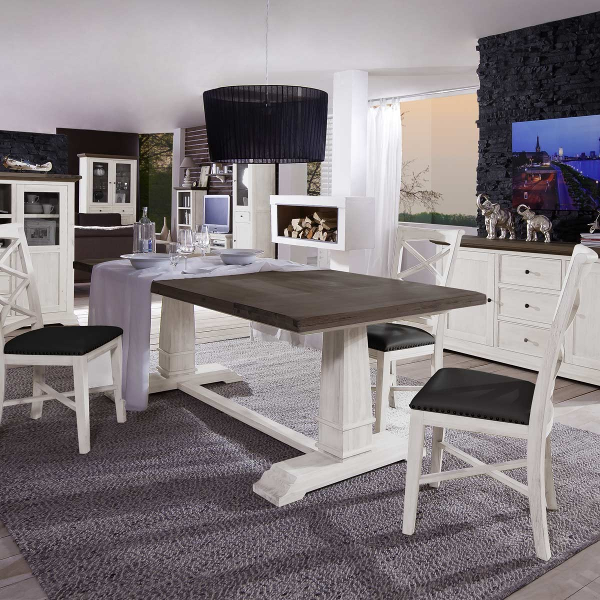 ansteckplatten varberg 2er set akazie massiv weiss kolonial b2b trade. Black Bedroom Furniture Sets. Home Design Ideas