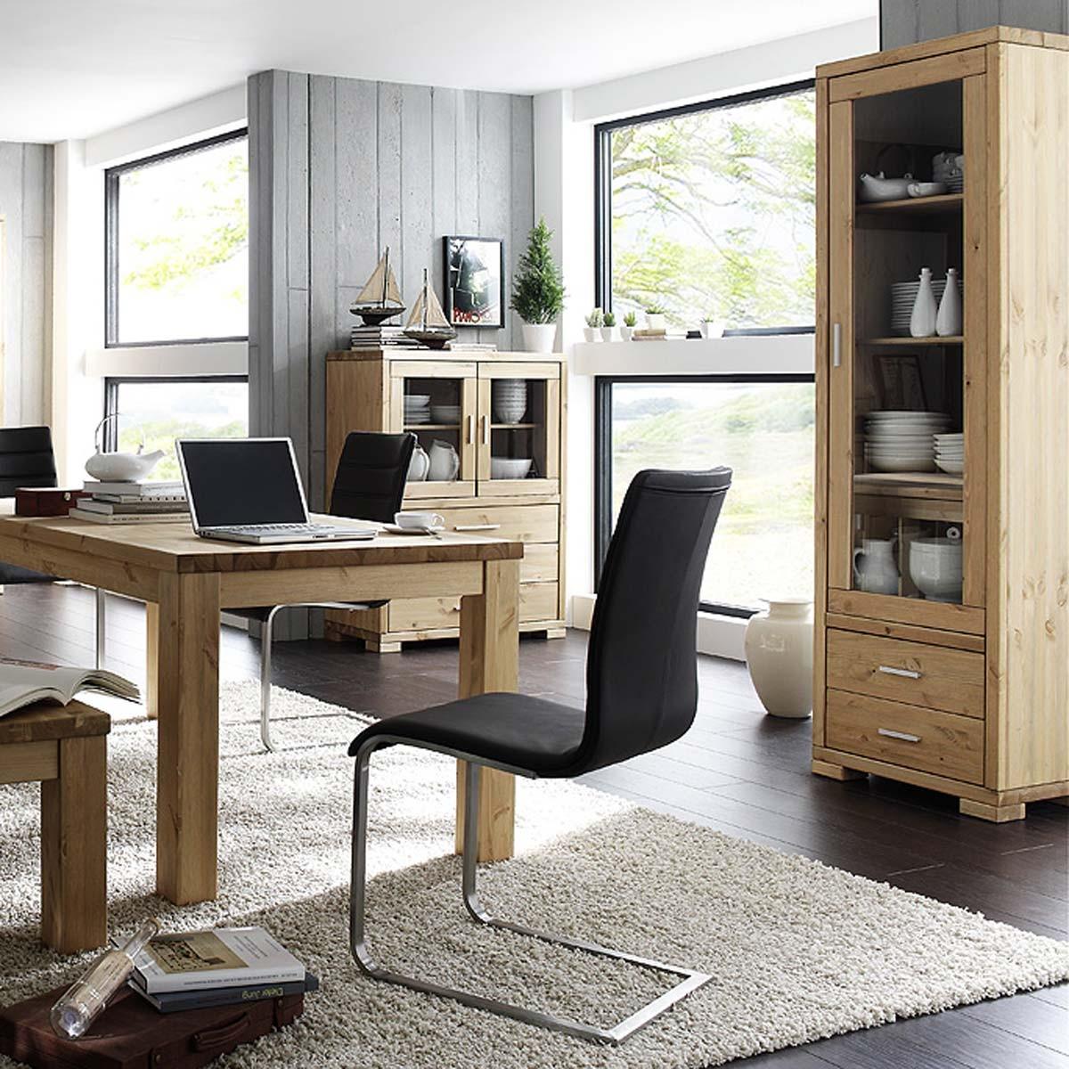 vitrinenschrank vitrine standvitrine kiefer holz massiv d nische beize neu ebay. Black Bedroom Furniture Sets. Home Design Ideas