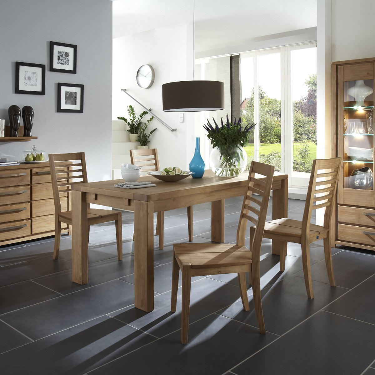 essgruppe nyborg 5 teilig mit tisch 180x90 und holzstuhl. Black Bedroom Furniture Sets. Home Design Ideas