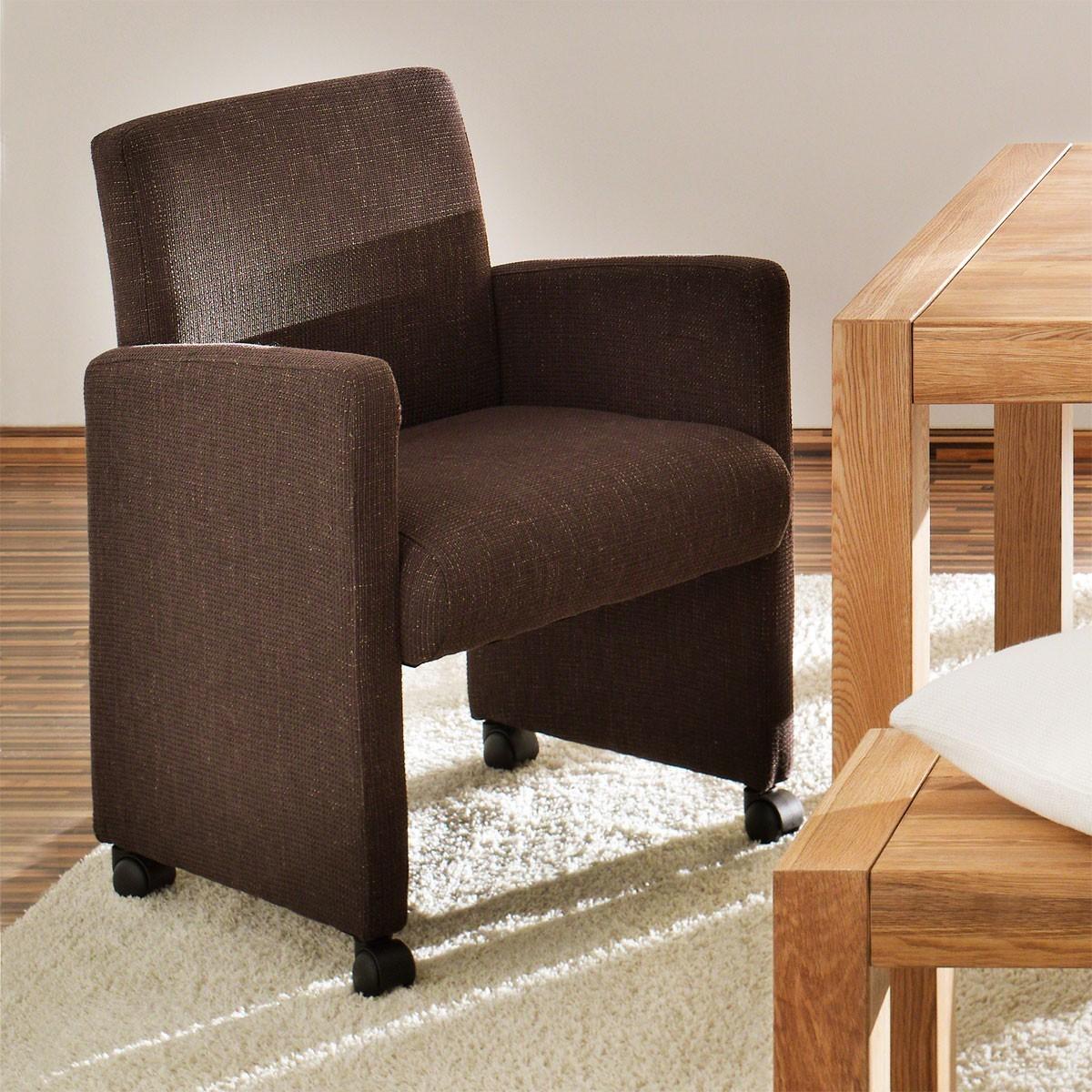 Sessel coffee mit rollen in webstoff braun for Sessel mit rollen