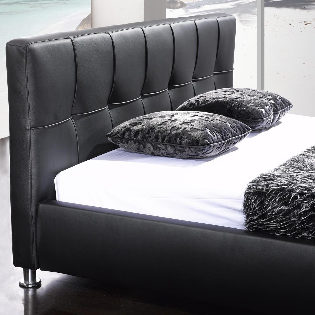 polsterbett zahrah 140 x 200 cm kunstleder schwarz. Black Bedroom Furniture Sets. Home Design Ideas