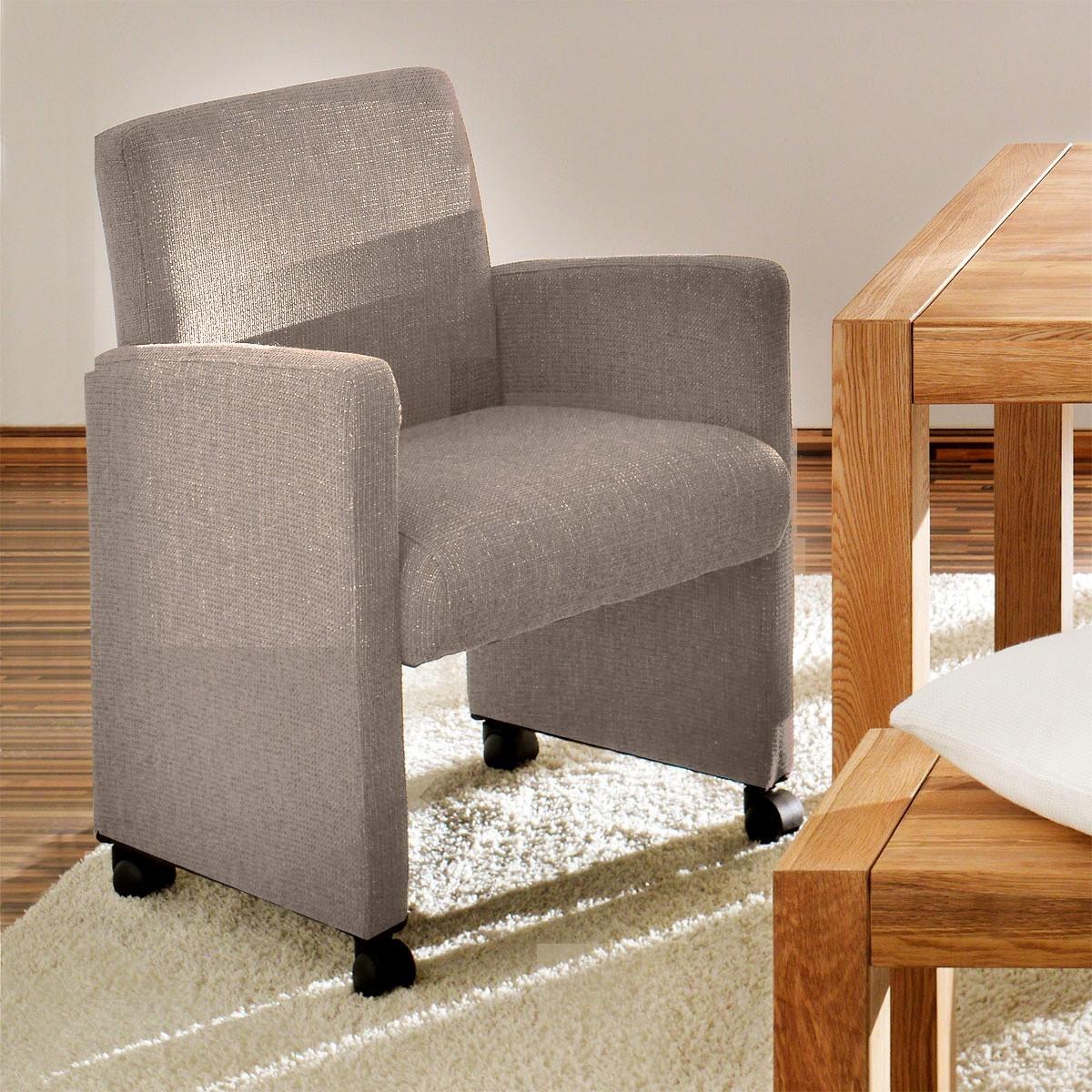 sessel ivory auf rollen in webstoff grau. Black Bedroom Furniture Sets. Home Design Ideas