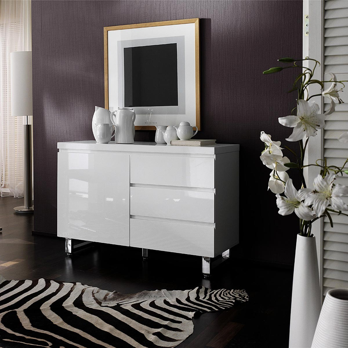 kommode tucker 1 t r 3 schubladen in hochglanz lack wei. Black Bedroom Furniture Sets. Home Design Ideas