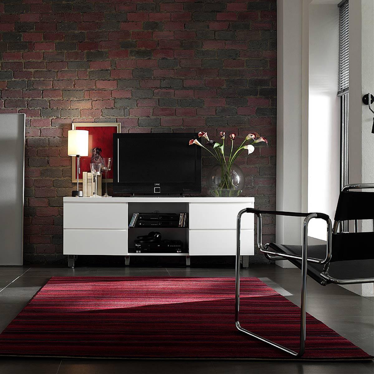 lowboard tucker mit 4 schubladen in hochglanz lack wei. Black Bedroom Furniture Sets. Home Design Ideas