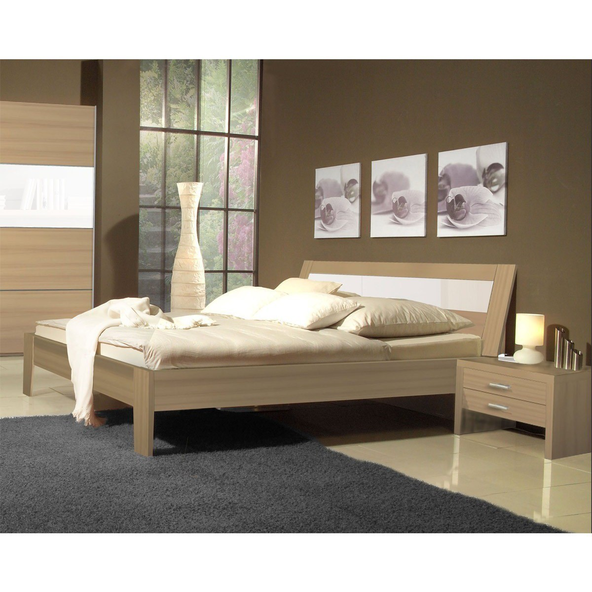 bett madeira 180x200 cm in nussbaum schwarzglas. Black Bedroom Furniture Sets. Home Design Ideas