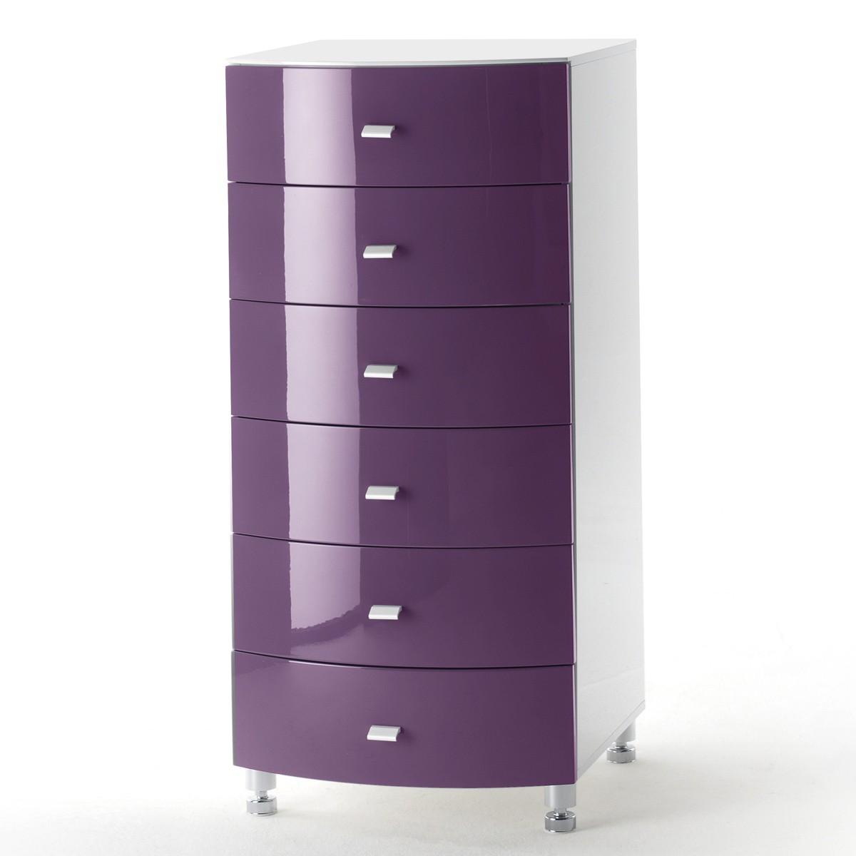 Kommode lucio in hochglanz purple lila und wei for Hochglanz kommode