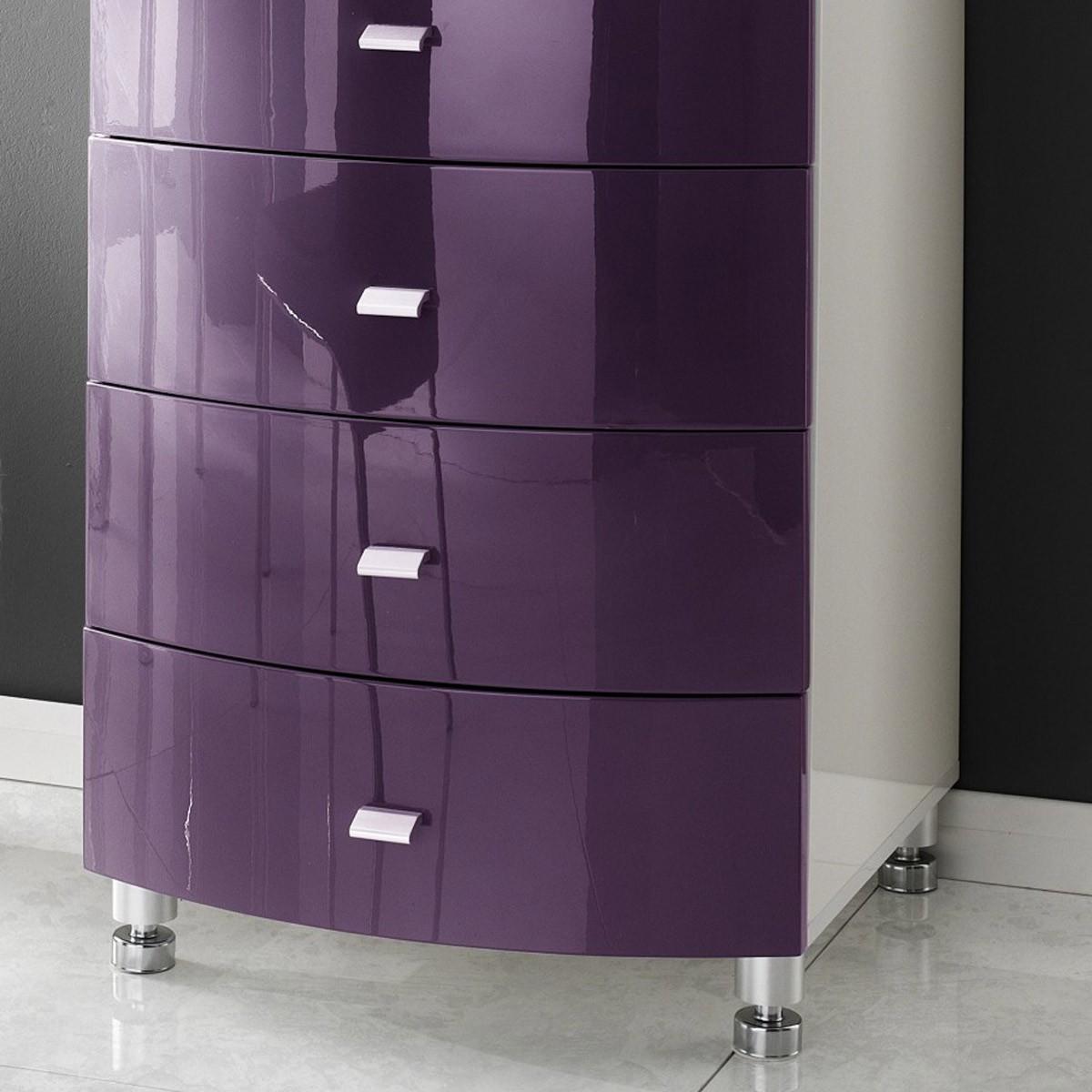 kommode lucio in hochglanz purple lila und wei. Black Bedroom Furniture Sets. Home Design Ideas