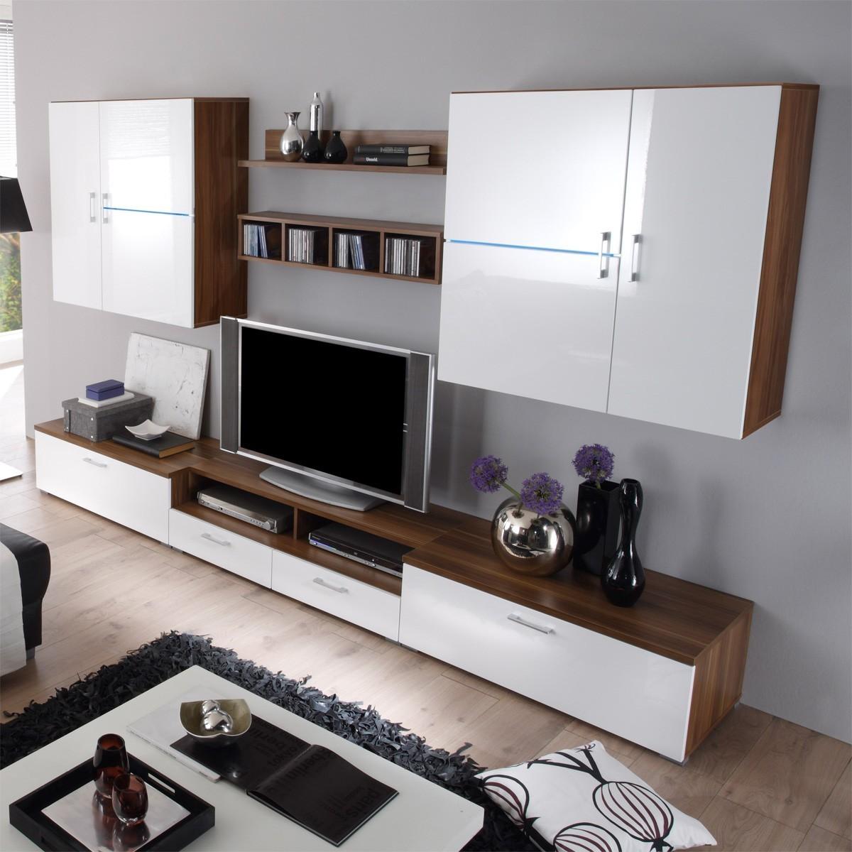 schrankwand weiss mit holz interessante. Black Bedroom Furniture Sets. Home Design Ideas