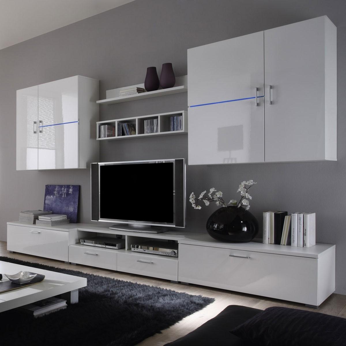Wohnwand Fernseher H?ngend : Die Wohnwand Linea II besticht mit einem modernen Design und wirkt