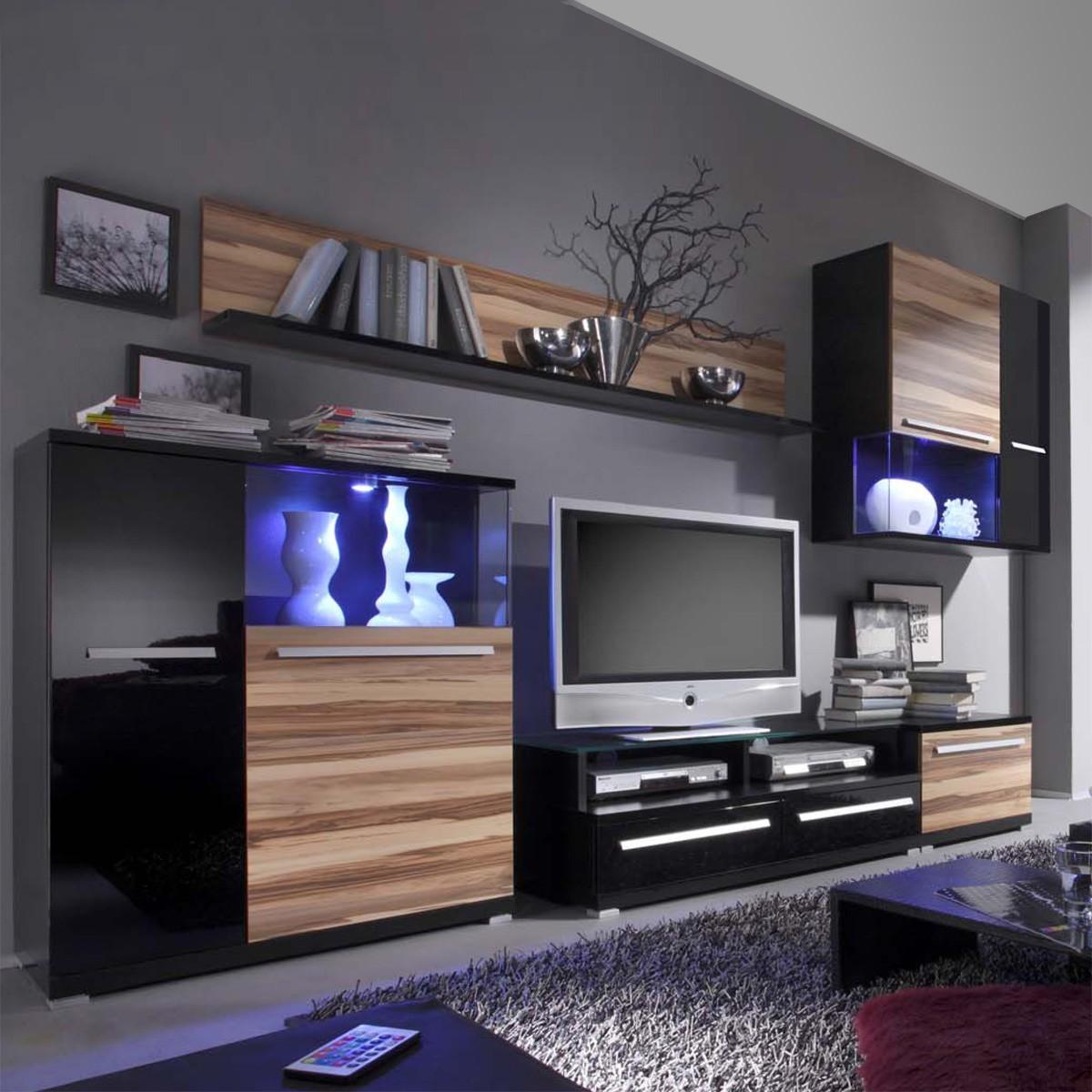 Walnuss diese modular angelegte wohnwand in schwarz for Walnuss wohnwand