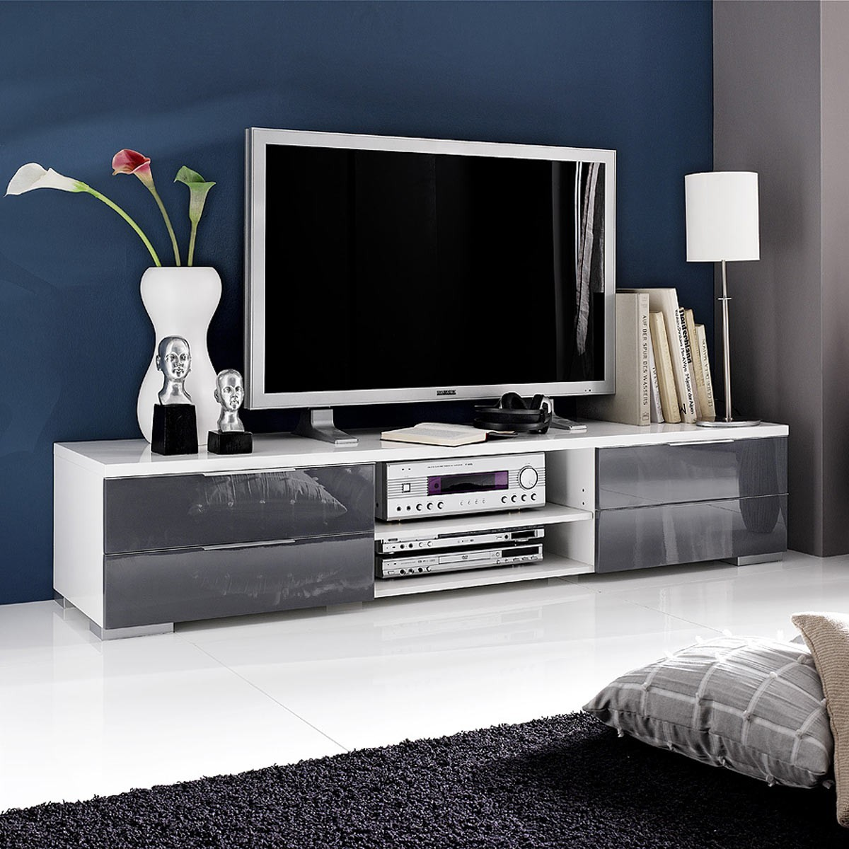 tv lowboard viva 180cm in wei hochglanz lack grau. Black Bedroom Furniture Sets. Home Design Ideas