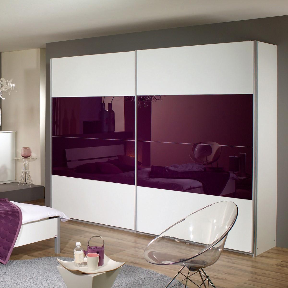 Schlafzimmer Quadra : Schlafzimmer Weiß Lila  Schwebetuerenschrank Quadra in Weiss Lila